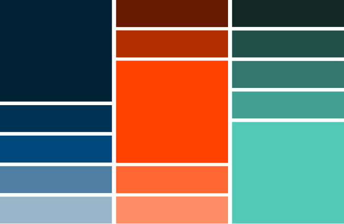 Project Enginuity design including 15 blocks of color variations to demonstrate brand colors within brand identity, including blue, navy, red, peach, green, teal, etc.